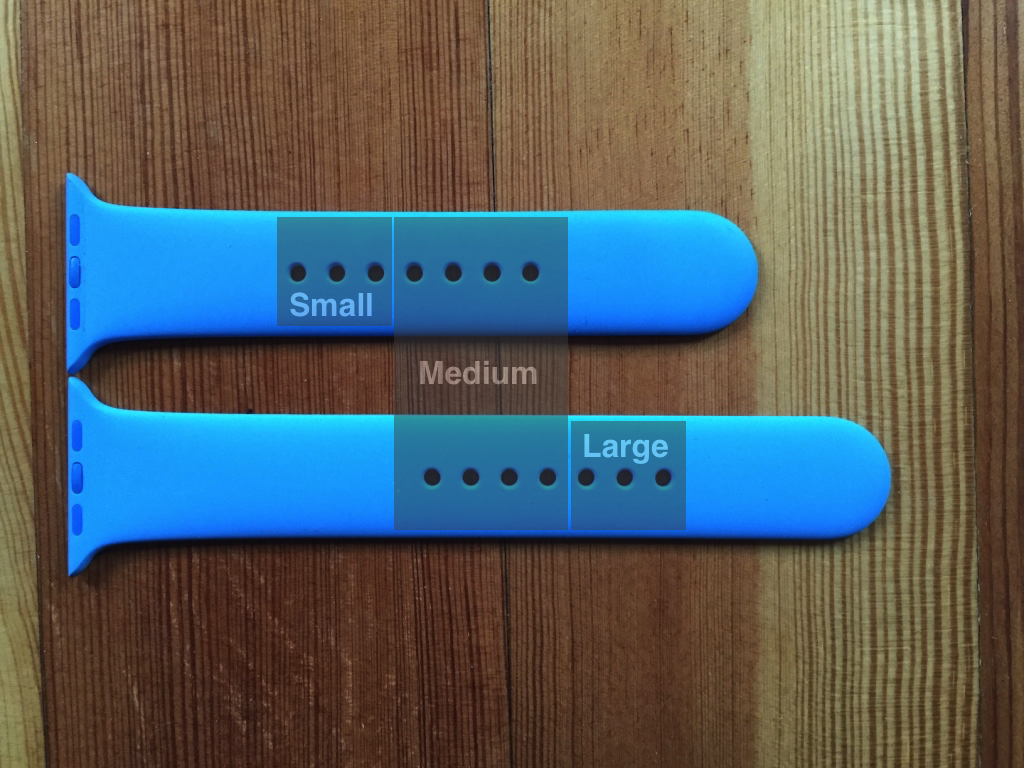 Small, medium and large watchband holes on Apple Sport band.
