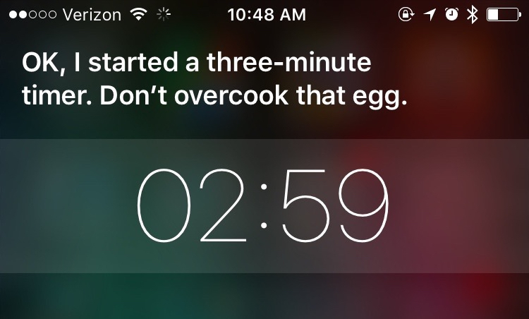 Siri's visual response when asked to set a three-minute timer.