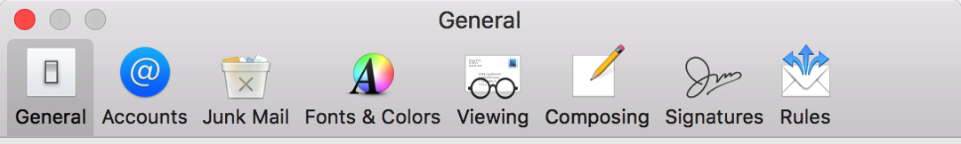 Image of toolbar icons in Mail Preferences featuring physical envelopes
